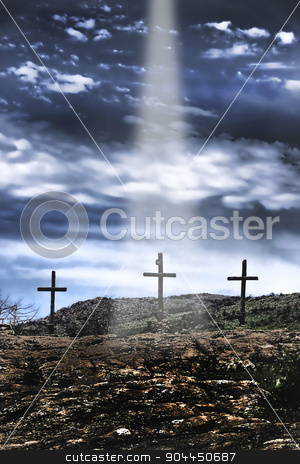 Jesus is Comming. stock photo, The three old wooden crosses on the hill. by WScott