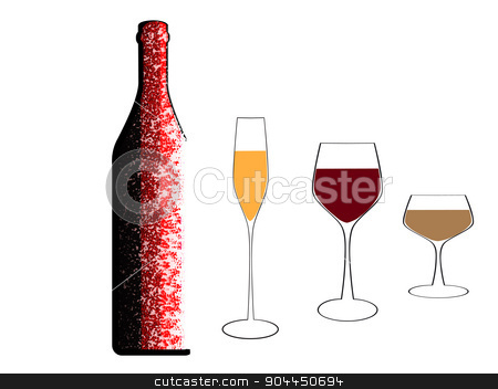 A bottle of wine and glasses stock vector clipart, Bottle of wine vector.Colorful bottle on background.Alcoholic Bar menu background. by Pavel Skrivan