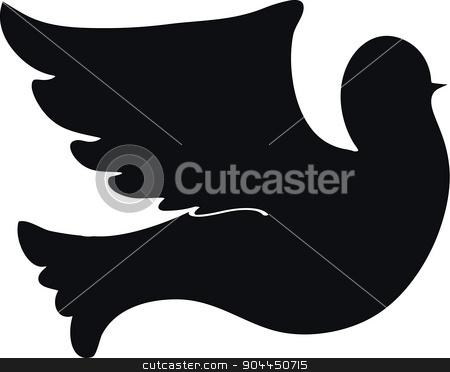 silhouette dove on white background stock vector clipart, Vector silhouette of a flying dove on a white background. by Aleksandra Serova