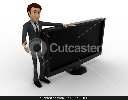 3d man with tv screen concept stock photo, 3d man with tv screen concept on white background, side angle view by 3dlabs