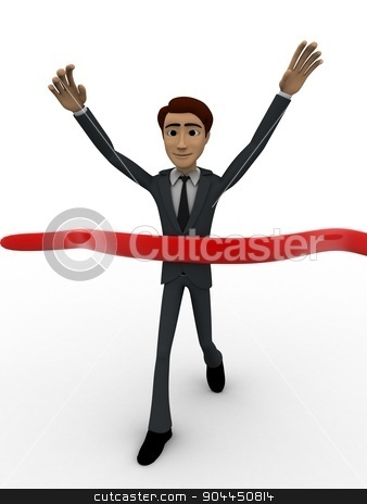 3d man finish race concept stock photo, 3d man finish race concept on white background, front angle view by 3dlabs