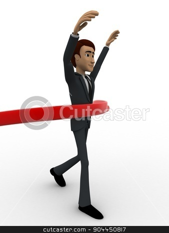 3d man finish race concept stock photo, 3d man finish race concept on white background, side angle view by 3dlabs