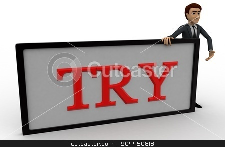 3d man with try sign borad concept stock photo, 3d man with try sign borad concept on white background, front angle view by 3dlabs