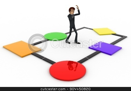 3d man  on c++ chart concept stock photo, 3d man  on c++ chart concept on white background, side angle view by 3dlabs