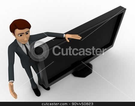 3d man with tv screen concept stock photo, 3d man with tv screen concept on white background,  top angle view by 3dlabs