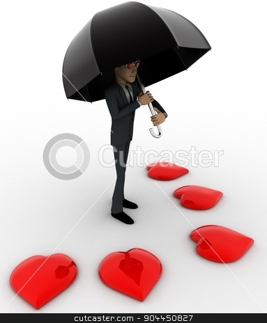3d man with umbrella and many red hearts concept stock photo, 3d man with umbrella and many red hearts concept on white background, side angle view by 3dlabs