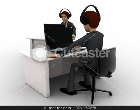 3d man working on laptop in office and wear headphone concept stock photo, 3d man working on laptop in office and wear headphone concept on white background, front angle view by 3dlabs