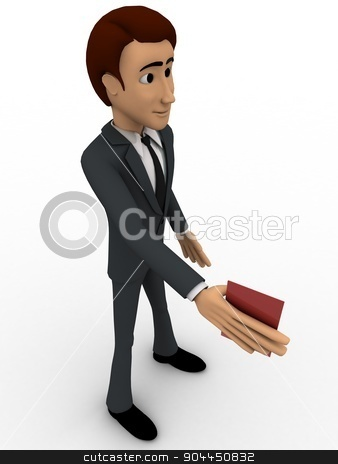 3d man showing red card concept stock photo, 3d man showing red card concept on white background,  top  angle view by 3dlabs