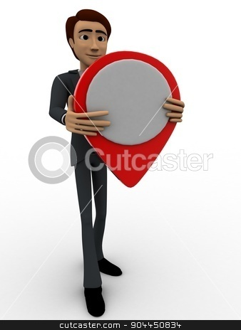 3d man holding location map symbol in hands concept stock photo, 3d man holding location map symbol in hands concept on white background, front angle view by 3dlabs