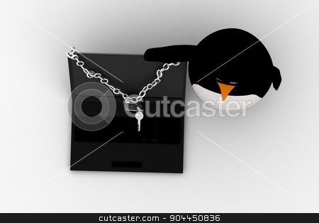 3d penguin with lock of laptop concept stock photo, 3d penguin with lock of laptop concept on white background,  top angle view by 3dlabs