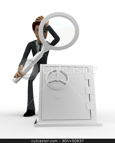 3d man examine locker concept stock photo, 3d man examine locker concept on white background, front angle view by 3dlabs