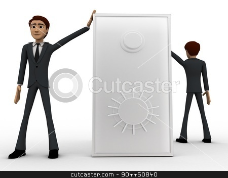 3d two men guard locker concept stock photo, 3d two men guard locker concept on white background, front angle view by 3dlabs