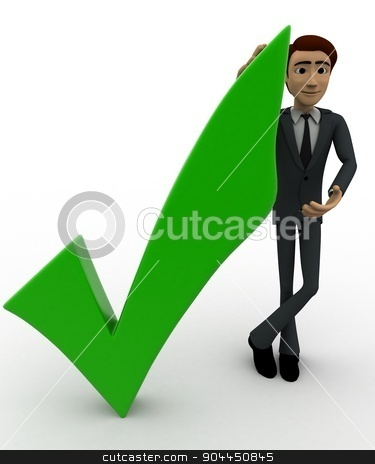 3d man with right symbol concept stock photo, 3d man with right symbol concept on white background, front angle view by 3dlabs