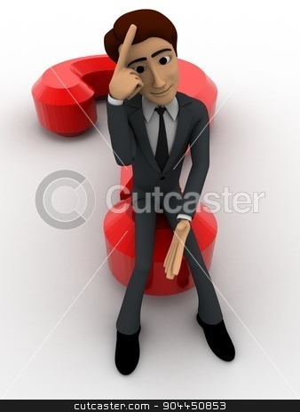 3d man sitting on question mark in stress concept stock photo, 3d man sitting on question mark in stress concept on white background, front angle view by 3dlabs