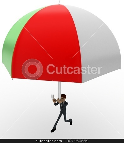 3d man using umbrella as parashoot concept stock photo, 3d man using umbrella as parashoot concept on white background, side angle view by 3dlabs