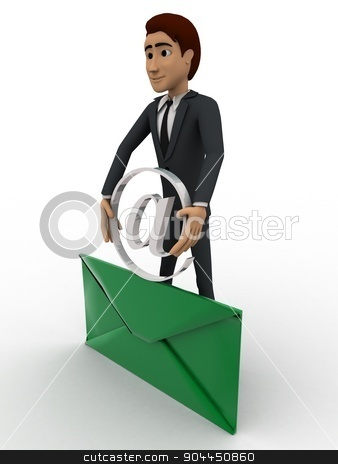 3d man with mail and holding mail icon concept stock photo, 3d man with mail and holding mail icon concept on white background, side angle view by 3dlabs
