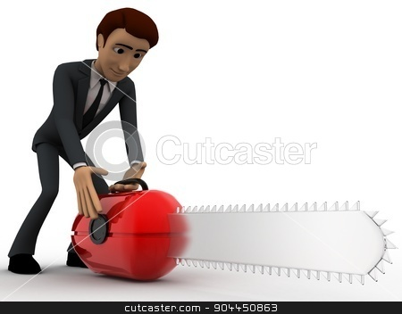 3d man with mechanical wood cutter concept stock photo, 3d man with mechanical wood cutter concept on white background, side angle view by 3dlabs