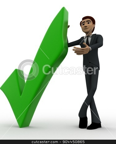 3d man with right symbol concept stock photo, 3d man with right symbol concept on white background, low angle view by 3dlabs