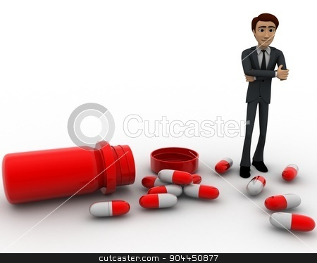 3d man with many capsules concept stock photo, 3d man with many capsules concept on white background, front angle view by 3dlabs