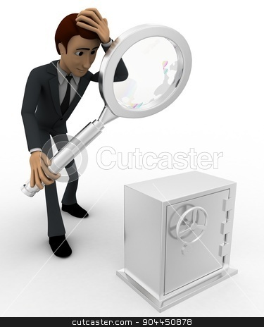3d man examine locker concept stock photo, 3d man examine locker concept on white background,  side angle view by 3dlabs