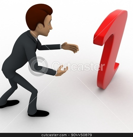 3d man confused with info symbol concept stock photo, 3d man confused with info symbol concept on white background, top angle view by 3dlabs