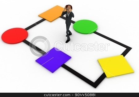 3d man  on c++ chart concept stock photo, 3d man  on c++ chart concept on white background, top angle view by 3dlabs