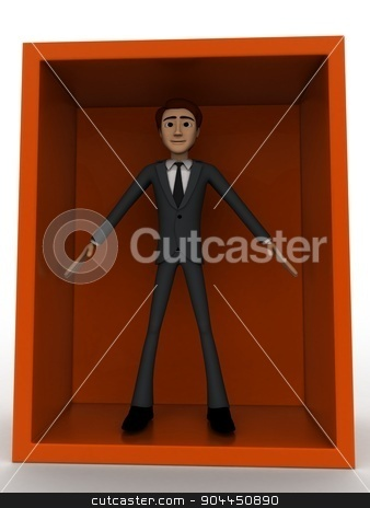 3d man standing inside box concept stock photo, 3d man standing inside box concept on white background, front angle view by 3dlabs
