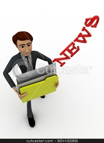 3d man holding news files concept stock photo, 3d man holding news files concept on white background, top  angle view by 3dlabs