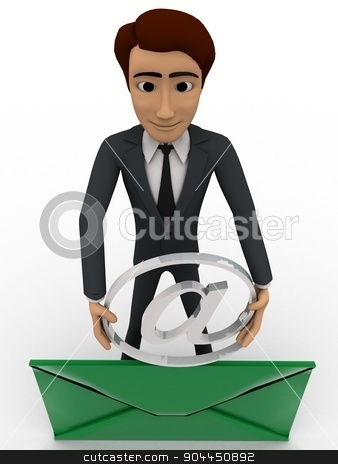 3d man with mail and holding mail icon concept stock photo, 3d man with mail and holding mail icon concept on white background, front angle view by 3dlabs