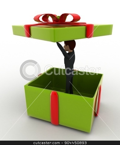 3d man in big green gift box concept stock photo, 3d man in big green gift box concept on white background,  side angle view by 3dlabs