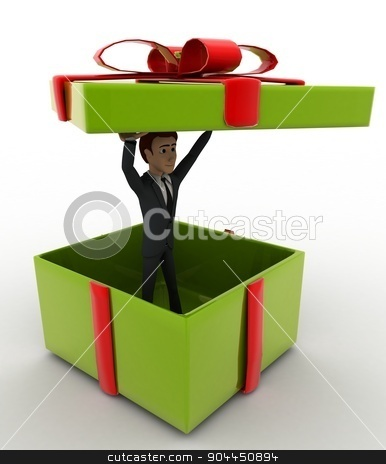3d man in big green gift box concept stock photo, 3d man in big green gift box concept on white background, right side angle view by 3dlabs