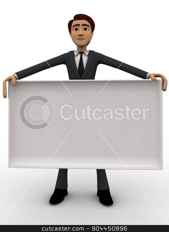 3d man with white empty borad concept stock photo, 3d man with white empty borad concept on white background, front angle view by 3dlabs
