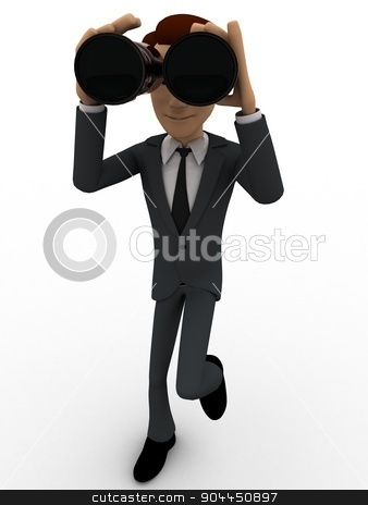 3d man looking through binocular concept stock photo, 3d man looking through binocular concept on white background, front angle view by 3dlabs