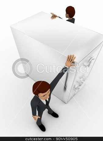 3d two men guard locker concept stock photo, 3d two men guard locker concept on white background,  side top  angle view by 3dlabs