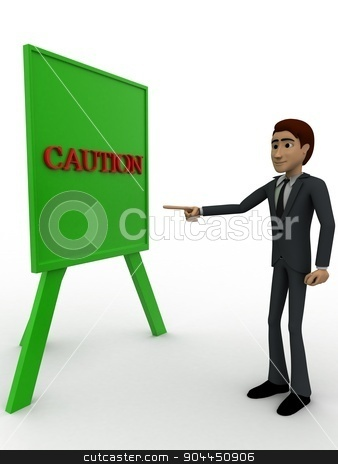 3d man pointing on caution sign board concept stock photo, 3d man pointing on caution sign board concept on white background, side angle view by 3dlabs
