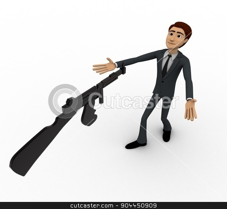 3d man afraid of machine gun concept stock photo, 3d man afraid of machine gun concept on white background,  top  angle view by 3dlabs