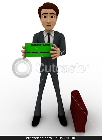 3d man holding black small board and having briefcase concept stock photo, 3d man holding black small board and having briefcase concept on white background, front angle view by 3dlabs