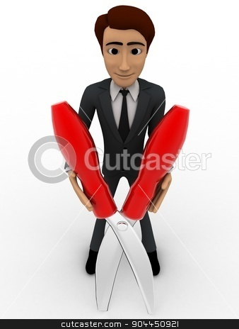 3d man holding big cutter concept stock photo, 3d man holding big cutter concept on white background, front angle view by 3dlabs