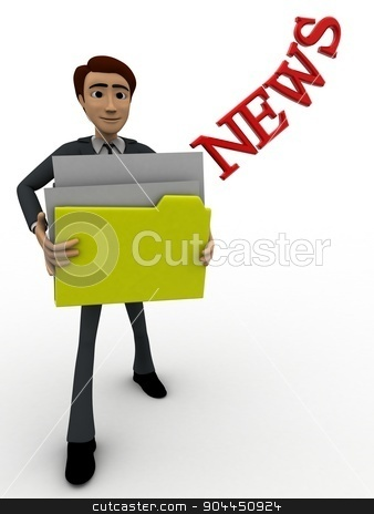 3d man holding news files concept stock photo, 3d man holding news files concept on white background, front angle view by 3dlabs