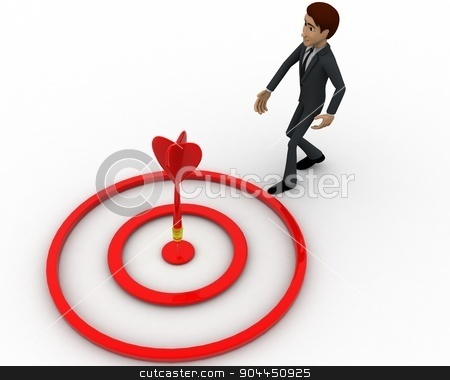3d man aim on target with dart concept stock photo, 3d man aim on target with dart concept on white background, top angle view by 3dlabs