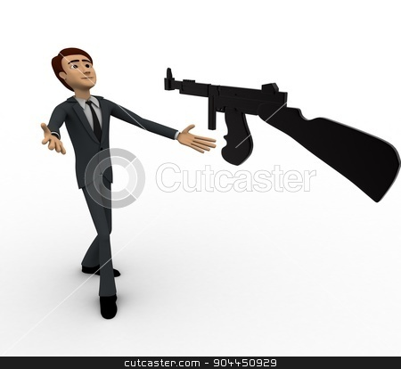3d man afraid of machine gun concept stock photo, 3d man afraid of machine gun concept on white background, front angle view by 3dlabs