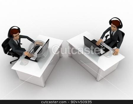 3d man working on laptop in office and wear headphone concept stock photo, 3d man working on laptop in office and wear headphone concept on white background, top angle view by 3dlabs