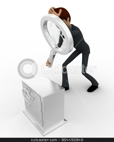 3d man examine locker concept stock photo, 3d man examine locker concept on white background,  top angle view by 3dlabs