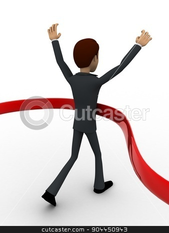 3d man finish race concept stock photo, 3d man finish race concept on white background, back angle view by 3dlabs