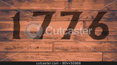 1776 Independence Day Brand stock vector clipart, Date Independence Day branded onto wooden planks by Kotto