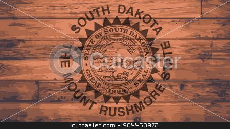 South Dakota Flag Brand stock vector clipart, South Dakota State Flag branded onto wooden planks by Kotto