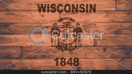 Wisconsin Flag Brand stock vector clipart, Wisconsin State Flag branded onto wooden planks by Kotto