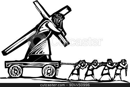 Carrying Christ stock vector clipart, Woodcut style expressionist image of people hauling Christ who is also carrying a cross. by Jeffrey Thompson