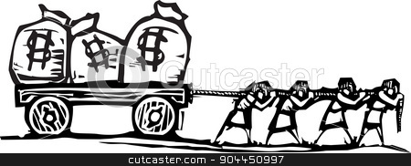 Dragging Money stock vector clipart, Woodcut style expressionist image of people dragging bags of money on a wagon. by Jeffrey Thompson