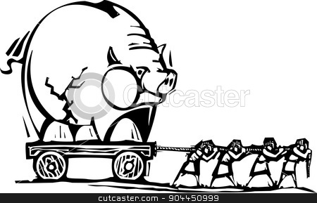 Carrying the Bank stock vector clipart, Woodcut style expressionist image of people of people dragging a piggy bank. by Jeffrey Thompson